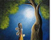 fairy art print by ERBACK fantasy Blue Sky Brown Whimsy Tree Angel Wings daisies Mom Dad #EasyNip