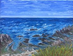https://flic.kr/p/uXom3L | Carmel Morning | This is my first oil painting where I took the time to drive to Carmel and sit by the ocean in a very nice spot   It was calm in the morning and by the time I left, the wind and waves were really picking up.  I tried to capture the essence of the scene and even put in a couple seagulls who were wanting to be painted.  The painting was done by palette knife, wet on wet oils.