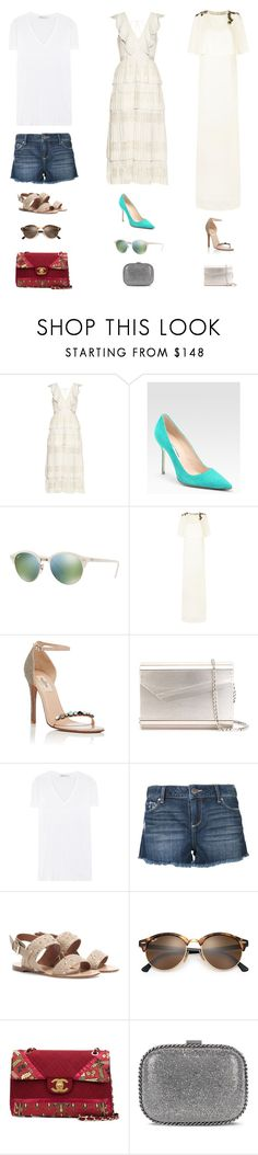 """Venice Film Festival Outfits 💃"" by lilsgrey ❤ liked on Polyvore featuring Manolo Blahnik, Ray-Ban, Lanvin, Valentino, Jimmy Choo, T By Alexander Wang, Paige Denim, Chanel and STELLA McCARTNEY"
