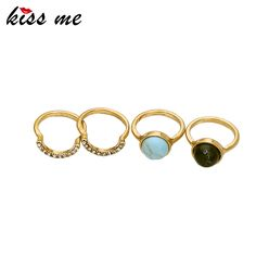 KISS ME 4PCS/Set Alloy Gold Rings for Women New Design Vintage Jewelry Accessories Finger Rings
