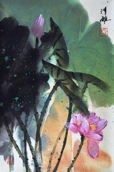 Ma Qingxiong - New Work Lotus Painting, Lily Painting, Koi Art, Fish Art, Japanese Art Prints, Japon Tokyo, Lotus Art, Affinity Designer, Contemporary Abstract Art