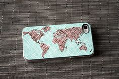 World Map Colored Sketch Custom iPhone Case Fits 4 And 4s Black Or White - unique iphone cases, gift, globe. $20.00, via Etsy.
