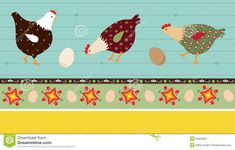 folk art hens and chicks | ... illustration of stylized chickens and decorative elements, eps 10