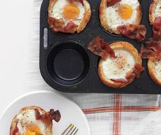 Bacon, Egg, and Toast Cups - Martha Stewart Recipes. Perfect for brunch or cooking for a crowd! MORE BACON! Father's Day Breakfast, Breakfast Dishes, Breakfast Recipes, Breakfast Muffins, Breakfast Cupcakes, Breakfast Ideas, Egg Muffins, Health Breakfast, Bacon Breakfast