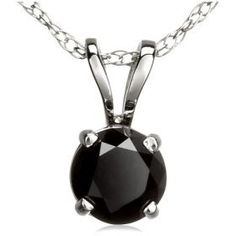 1.50cttw Single Stone Natural Treated Black Round Diamond (AAA-Clarity,Deep Black-Color) Pendant in 14k White Gold.Included with 18 inch 14k White Gold Chain..  List Price: $1,599.00  Savings: $1,200.00 (75%)