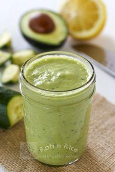 Avocado Cucumber Smoothie - just avocado, cucumber, lemon, and homemade almond milk <3