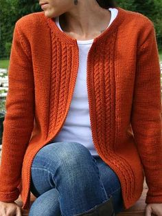 "This beautiful cardigan features set-in sleeves and an attractive slip stitch design along the front opening. Knit flat and seamed together. Size: Includes Woman's S through XL. Made with light (DK) weight yarn and size 3/3.25mm 32"" circular needle. Skill Level: Intermediate"