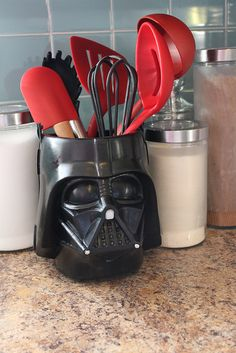 Darth Vader kitchen utensil holder from a kids bucket/pail.
