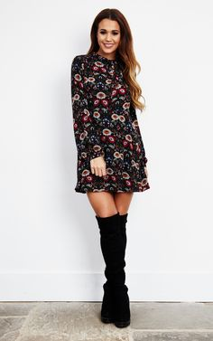 This dress will look sensational with over the knee boots, tights and a faux fur coat.