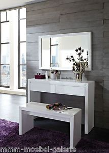 3er set kosmetiktisch freiburg konsole hocker spiegel massivholz weiss neu - Schminktisch Modern