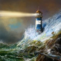 The ocean isn't strong enough for this lighthouse in the painting Lighthouse Storm, Lighthouse Painting, Famous Lighthouses, Lighthouse Pictures, Stormy Sea, Stormy Night, Beacon Of Light, Thomas Kinkade, Belle Photo