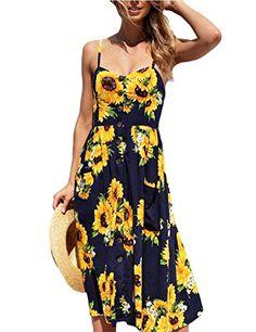 bf82d74197e Poptem Women s Midi Dresses V-Neck Bohemian Floral Spaghetti Strap Summer  Beach Sundresses
