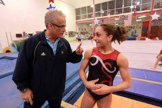 Abby's role model and gymnastics big sister and Twistars USA world champion Jordyn Weiber with USA Olympic coach at Twistars gym.