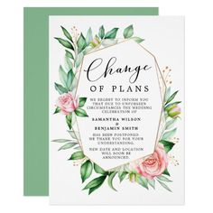 Elegant watercolor floral ,formal and elegant, change of plans, wedding cancellation announcement is perfect for letting your guests about postponement of the wedding. Simply personalize the card with your desired wording using the fields provided. Announcement Cards, Wedding Announcements, Bridal Shower Invitations, Custom Invitations, Wedding Day Cards, Postcard Invitation, Save The Date Postcards, Wedding Save The Dates, Wedding Humor