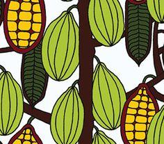 Kaakaopuu 14170 | corn, nature, hand-drawn | Wallpaper by Marimekko | Be playful…