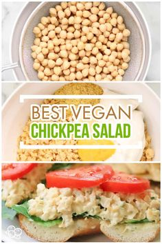 This fab vegan chickpea salad is vegan fast food at it's best! Literally takes just minutes to make this mashed chickpea salad and it is delish in on the go lunches or as a party spread with crackers, veggies, or bread! #chickpeas #glutenfree...