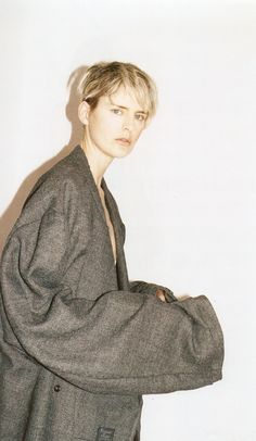 Juergen Teller photographs Stella in that large, very large grey kimono coat.