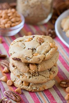 Thick brown sugar cookies made with browned butter and filled with butterscotch chips and pecans. These cookies are THE BEST!!