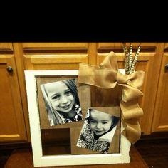 Old window, scrapbook paper, spray adhesive, burlap ribbon, and beautiful photos!!