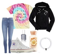 """""""let me sleep"""" by madelynnnnnnnne on Polyvore featuring Paige Denim, Essie, Converse and Aéropostale"""