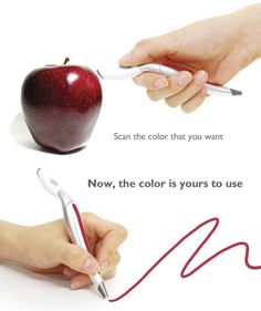 Scan the color you want to write with...tada!  too cool