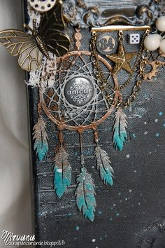Nirvana! - Creative Embellishments chipboard dreamcatcher with embossing powders