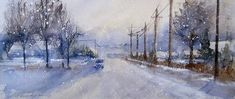 Winter Print featuring the painting Snowy Sunday Drive by Sandra Strohschein