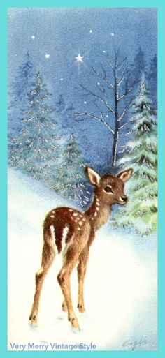 Very Merry Vintage Syle: Hello {Vintage} Deer - Christmas of Long Long Ago -