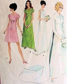 1960s  EMPIRE WAIST  WEDDING GOWN BRIDAL DRESS LONG TRAIN JACKET PATTERN McCALLS 9227