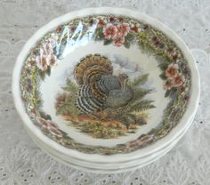 Vintage Set of 4 Queens China Thanksgiving Coup Cereal Bowls Myott Factory #QueensChina