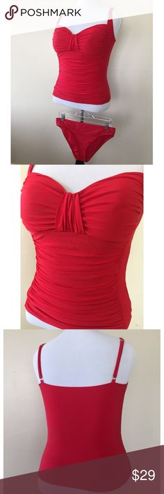 """Red La Blanca tankini Top only worn once! Buy with or without bottoms; just LMK. 🌸 SIZING: top: 32"""" minimum bust. Adjustable straps. Waist=28"""" minimum. Side length = 14"""". Bottoms: size large. 30"""" minimum band. Does have wearing from pool stairs on behind La Blanca Swim"""