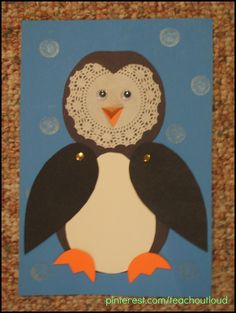Doilie Penguin; #january #craft #crafts #preschool #elementary