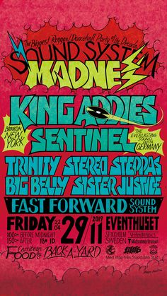 🇸🇪🇺🇸🇩🇪SOUND SYSTEM MADNESS poster design by Massa AquaFlow (Instagram; @massaaquaflow)  KING ADDIES (Brooklyn New York) SENTINEL (Germany) TRINITY / STEREO STEPPAS / BIG BELLY / SISTER JUSTICE Sound System by Fast Forward Sound System  organize EMPIRE ENTERTAINMENT Stockholm  #MAD #MADNESS #kingaddies #sentinel #sentinelsound #reggae #dancehallreggae #soundsystem #soundsystemculture #dancehall #reggaedancehall #reggaedance #reggaeflyer #reggaeposter #flyerdesign #flyerdesigns… Brooklyn New York, Before Midnight, Reggae, Flyer Design, Stockholm, How To Draw Hands, Germany, Sweden, Yahoo