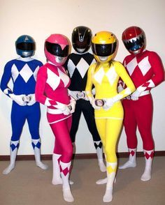 AWESOME Power Rangers Costumes yesss I want it for halloween! We are all going to fight over the pink ranger Kimberly. Power Rangers Halloween Costume, Group Halloween Costumes, Group Costumes, Diy Costumes, Cosplay Costumes, Halloween Party, Spooky Halloween, Power Rangers Cosplay, Pink Power Rangers