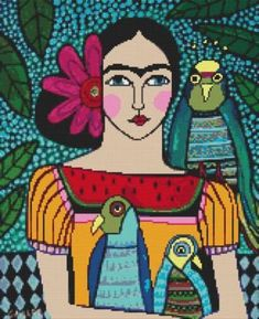 Frida Kahlo With Parrots By Heather Galler Cross Stitch Kit
