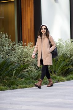 most comfortable boots for chronic foot pain | J.Crew tan coat, Rockport Bethany boots, Cuyana backpack