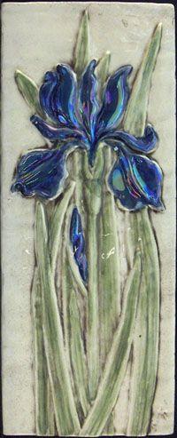 4 x 10 hand painted iris ceramic art tile  $40.00   Earth Song Tiles
