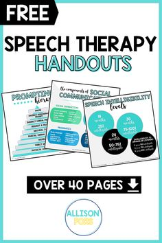 Speech therapy handouts for SLPs, parents, and teachers. Over 40 full-color free printables as functional classroom decor or handouts. Topics cover articulation and social development hierarchies, sensory processing disorders, cleft palates, speech and language development, and much more. Enter your name and email to download your speech therapy freebies!