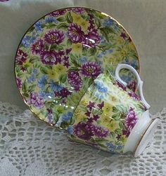 Pretty Chintz China Cup Saucer Bethany Staffordshire England -