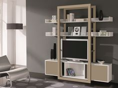 Etagère laquée avec portes coulissantes. Mod. DREAM Decoration, Bookcase, Shelves, Design, Furniture, Home Decor, Tv Storage, Boutique Online Shopping, Decor