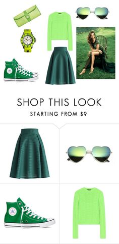 """""""Everything green"""" by zareenk on Polyvore featuring Chicwish, Converse, Versace and KYBOE!"""
