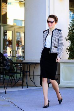 black and white  houndstooth jacket  #fashion #streetstyle #ootd #black #white