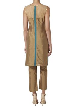TURQUOISE AND GOLD TROUSER SUIT back shot