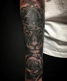 Tattoos - Crowned Lion with Rose Black and Gray - 123353