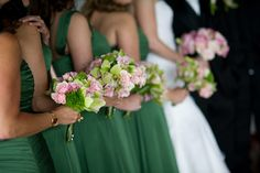 Varying shade of green and hints of pink using green dianthus, green cymbidium orchids and pink spray roses. Chic Wedding, Wedding Ceremony, New York Summer, Cymbidium Orchids, Same Day Flower Delivery, Spray Roses, Shades Of Green, Bridesmaid Bouquets, Bridal Bouquets