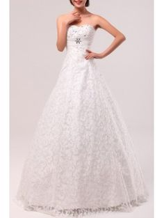 Lace Scoop Floor Length A-line Wedding Dress with Crystal