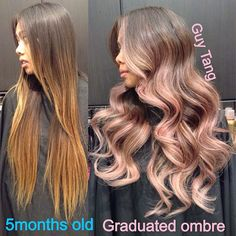 Soft lilac tones on her creamy blonde graduated ombre