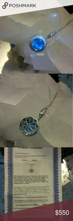 14 kt white gold blue topaz and diamonds Please read certificate 3picture is amazing necklace I bought in Costco with authentic box and certificate Tiffany & Co. Jewelry