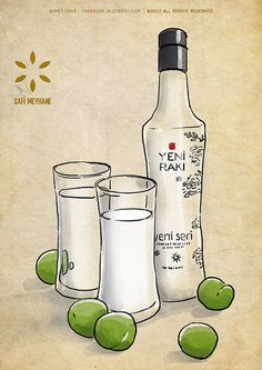 Yeni Raki bottle and glasses safi meyhane by ahmetcoka, via Flickr