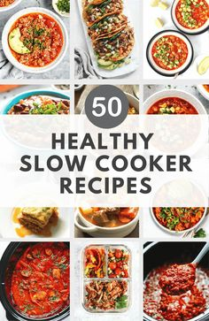 These 50 healthy slow cooker recipes are perfect for your weeknights. Some are vegetarian, gluten-free, low-carb and low-fat. Carrots Slow Cooker, Slow Cooker Quinoa, Slow Cooker Baked Beans, Slow Cooker Chili, Healthy Slow Cooker, Slow Cooker Recipes, Crockpot Recipes, Healthy Meat Recipes, Clean Eating Recipes